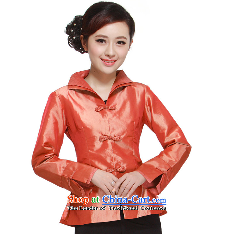 The new 2014 Ms. Tang dynasty Mock-neck?3 capsule detained dual Mock-Neck Shirt damask pure color small Li aware orange?XL