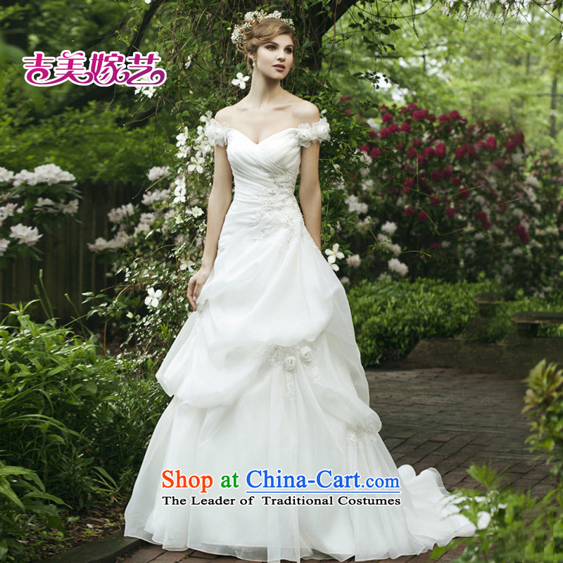 Beijing No. year wedding dresses Kyrgyz-american married arts 2013 new word shoulder Korean wedding video thin tail 673 bride wedding ivory?XXL
