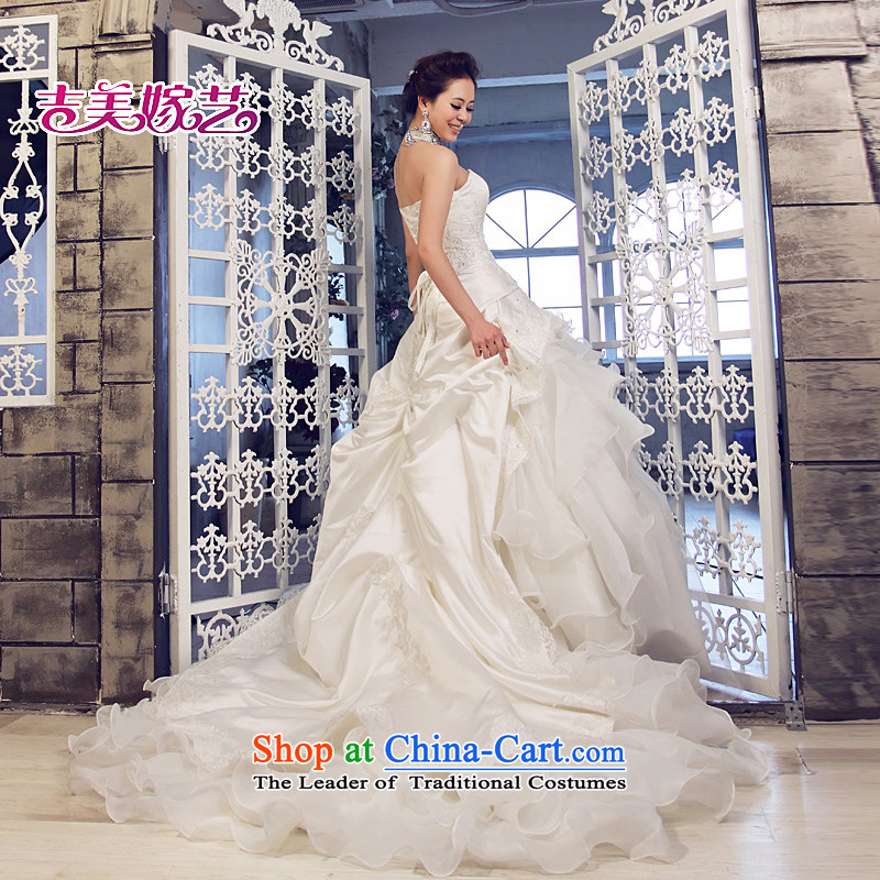 Beijing No. year wedding dresses Kyrgyz-american married new Korean arts 2015 edition anointed chest princess skirt sweet tail 625 bride wedding ivory?1.5 m tail?S