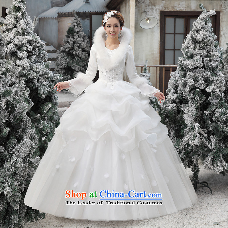 Shared Keun guijin 2014 new cotton wedding collar horn princess long-sleeved word warm to align the shoulder wedding dresses m White?XL code from Suzhou Shipment