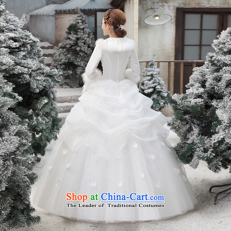 Shared Keun guijin 2014 new cotton wedding collar horn princess long-sleeved word warm to align the shoulder wedding dresses m White XL code from Suzhou shipment, shared Keun (guijin) , , , shopping on the Internet