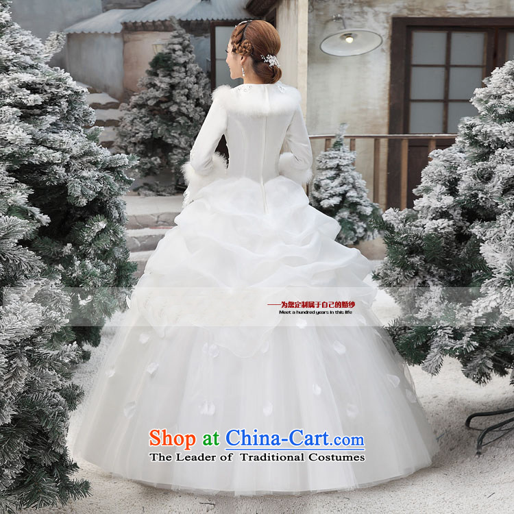 Shared Keun guijin 2014 new cotton wedding collar horn princess long-sleeved word warm to align the shoulder wedding dresses m White XL code from Suzhou shipment picture, prices, brand platters! The elections are supplied in the national character of distribution, so action, buy now enjoy more preferential! As soon as possible.