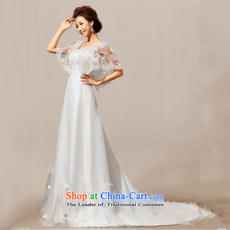 There is also optimized 8D wedding tail short-sleeved wedding wedding word shoulder wedding XS5235 lace white?S