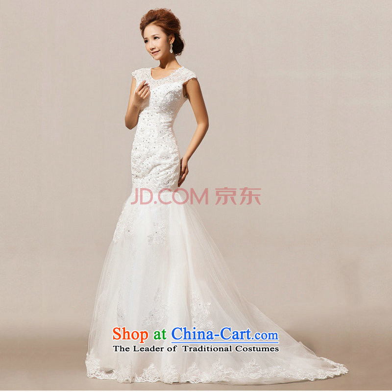 There is also a grand new optimize wedding tail winter word shoulder wedding XS5228 white S