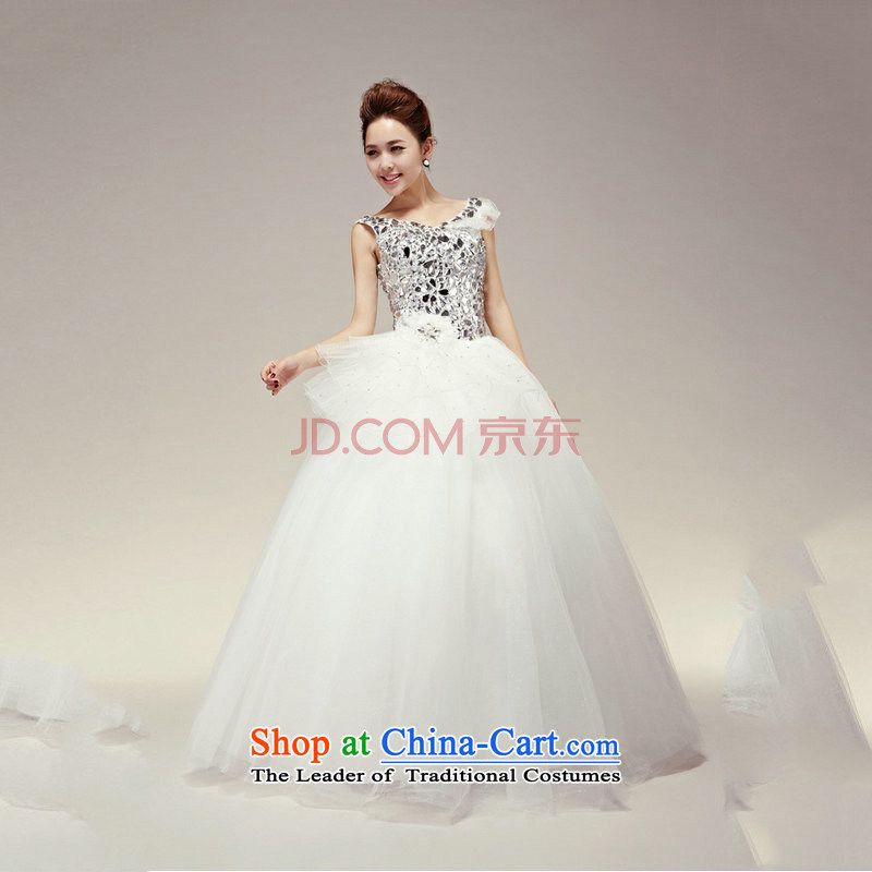 There is also a grand new optimized Korean shoulders water-soluble Lace up straps to align drill, marriages wedding dresses XS5223 White�XL