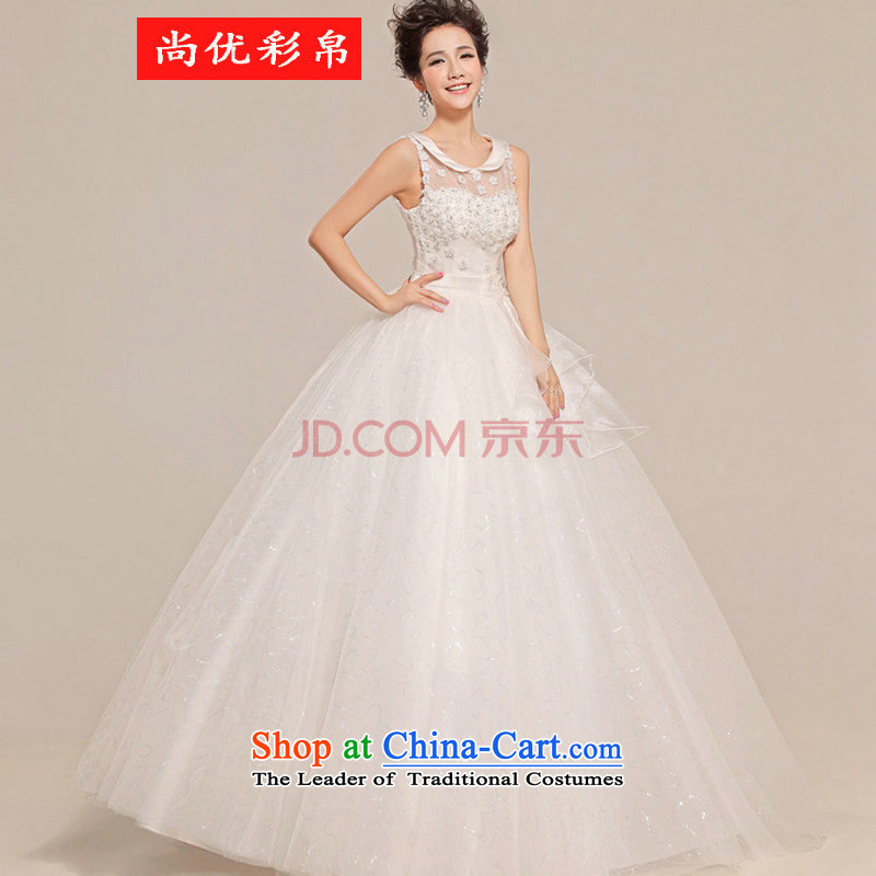 There is also optimized 8D wedding dress align bon bon to shoulder a flower anointed chest wedding XS5216 white?S