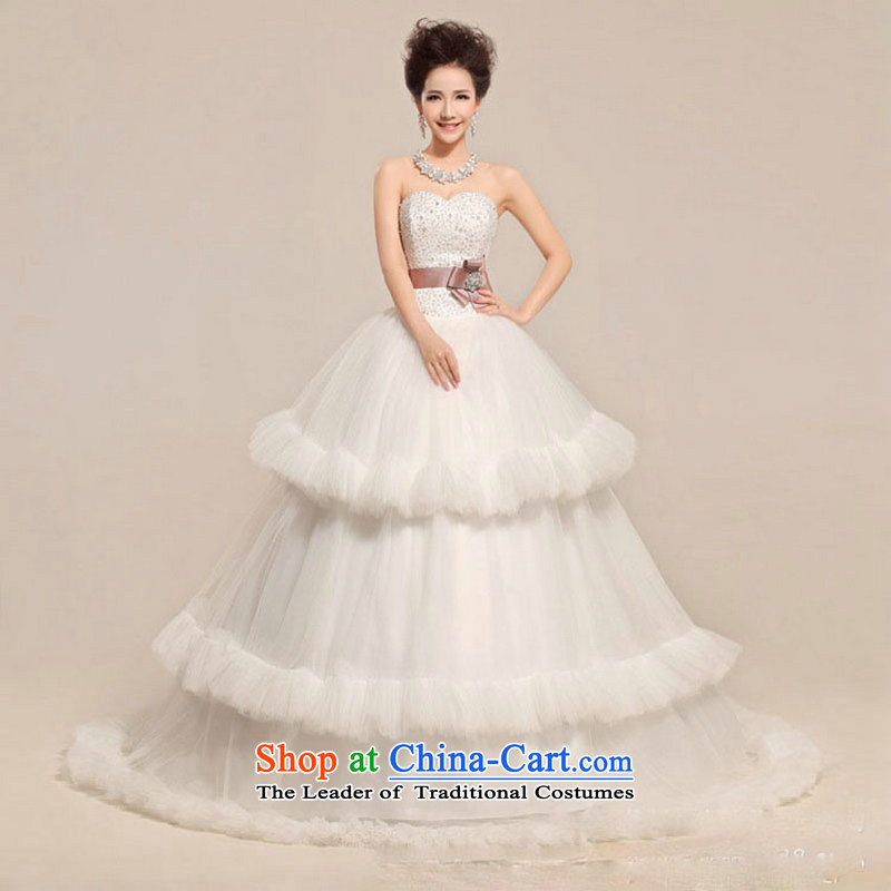There is also a grand new optimized heart and chest flower waist waves Fung skirt wedding dress XS5218 white�S