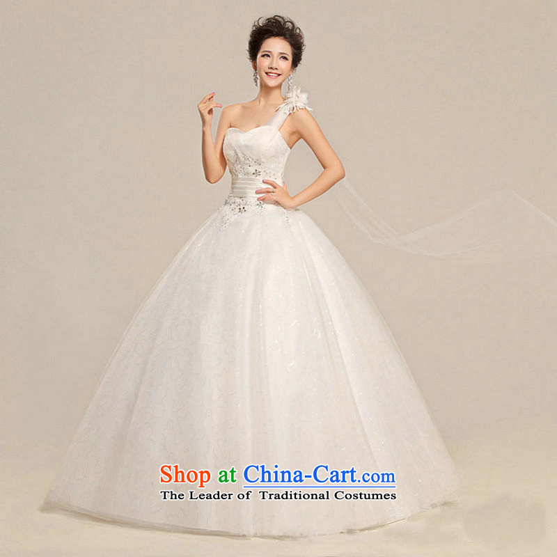 There is also a grand new optimize wedding shoulder female Korean alignment with chest wedding dresses Korean sweet white wedding?XS5215 Princess?White?XXL