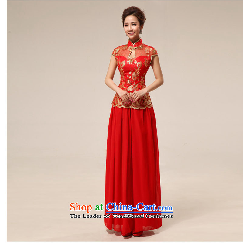 Taiwan's bride Antique Lace long red transparent lace sexy qipao XS2286 RED�L