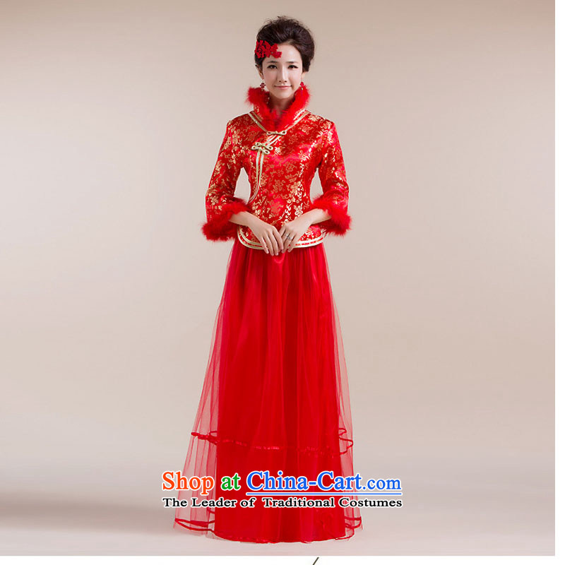 Taiwan new leader's Gross Gross cuff gauze stitching long skirt flower embroidery Kim Tang dynasty dress XS2287 RED?S