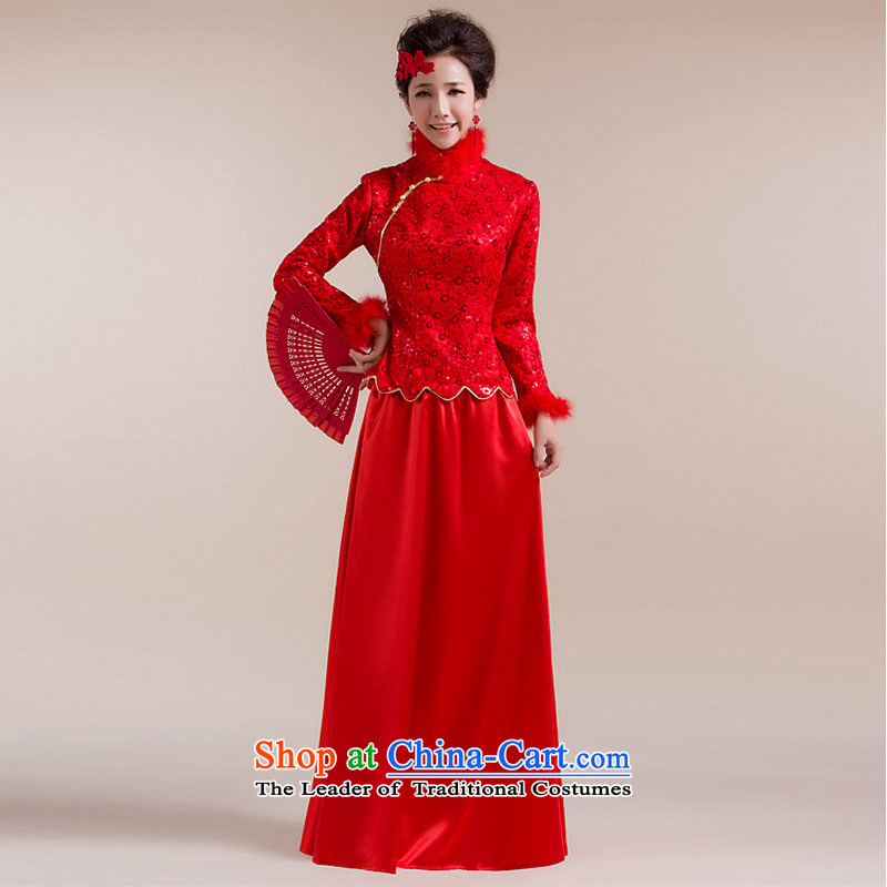 Taiwan wool collar gross cuff dot decorated under the aliasing dragging long skirt Tang dynasty bows dress XS2284 RED XL