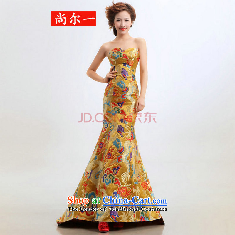 The new bride dragon robe bows cheongsam dress wedding will XS2283 Yellow? XL