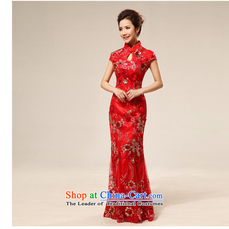 Taiwan's skirt Fashion improvements bride qipao lace retro red red聽XXL toasting champagne XS2287 Cheongsam