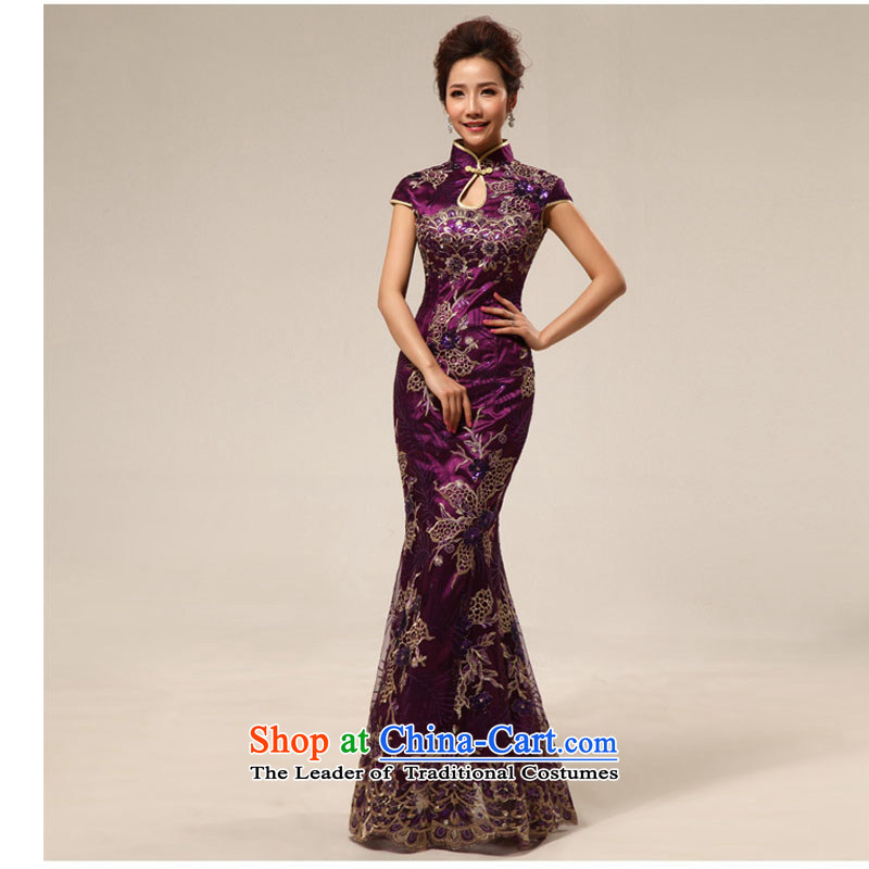 Taiwan's antique dresses welcome service improvement etiquette crowsfoot tray clip cheongsam dress XS2282 PURPLE?M