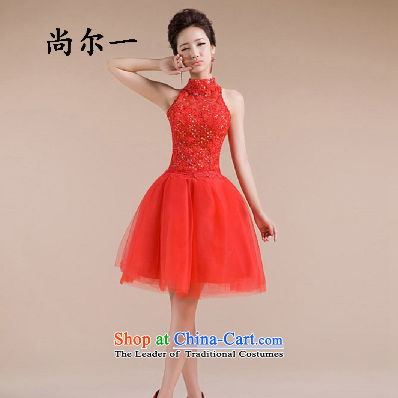 The population of Taiwan new dresses hang also engraving embroidered fine exquisitely designed wedding dresses XS2280 small red?L