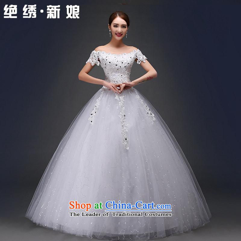 The word is embroidered bride package shoulder marriage wedding dresses new 2015 Autumn engraving lace Korean retro straps to align the wedding?M