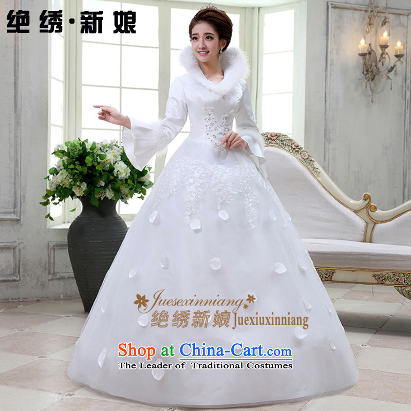 Embroidered brides is?2015 autumn and winter new stylish plush warm to align the long-sleeved cotton wedding white?S
