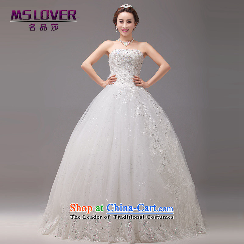 Mslover聽new asymmetric design on-chip lace The Princess Bride anointed chest Sau San video to bind the thin snap with bride Wedding聽0024聽M聽 L2 Tape white waist size 2_