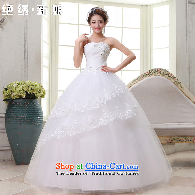 Embroidered Bride Korean is sweet princess dress�2015 new alignment with chest retro niba wedding White�M