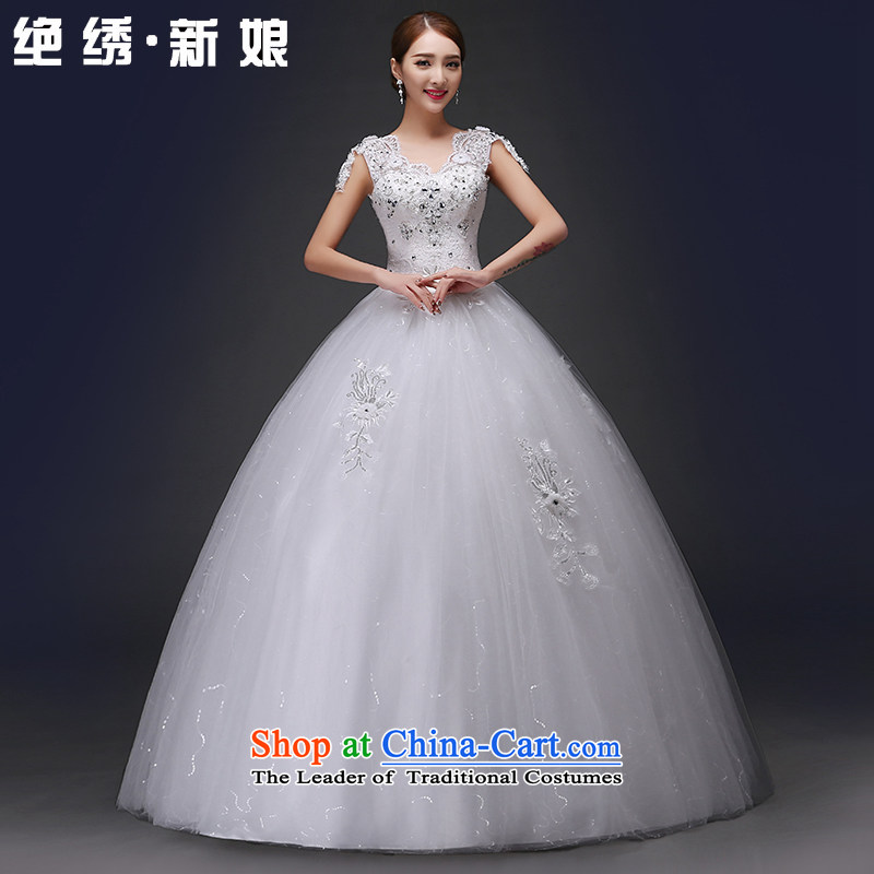 There is embroidered wedding in spring and summer 2015 new bride wedding dress a field package shoulders lace V-neck to align the Korean style wedding dress White XXL