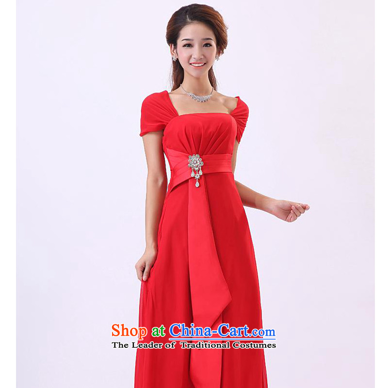 Mak-hee 2014 new stylish long-haired dress marriage wedding services Red Shawl-drink red?L/165 Ceremony