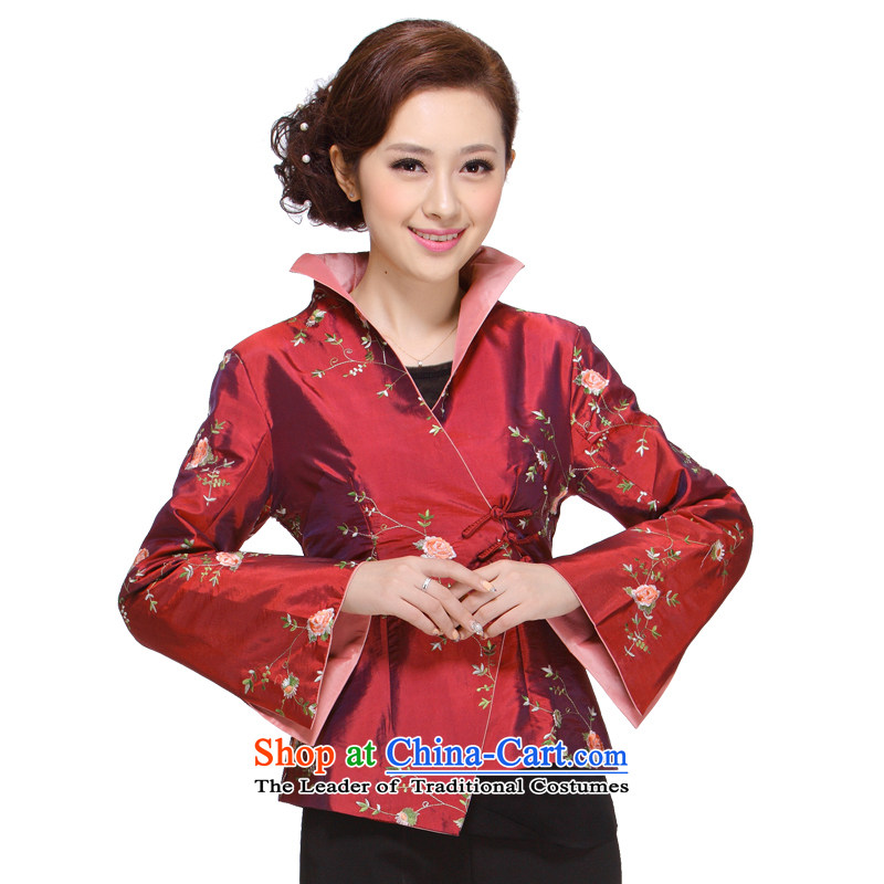 Tang dynasty women fall 2013 in New replacing older mother Sau San Tong Load T-shirt jacket Chinese M-004 pink 2XL
