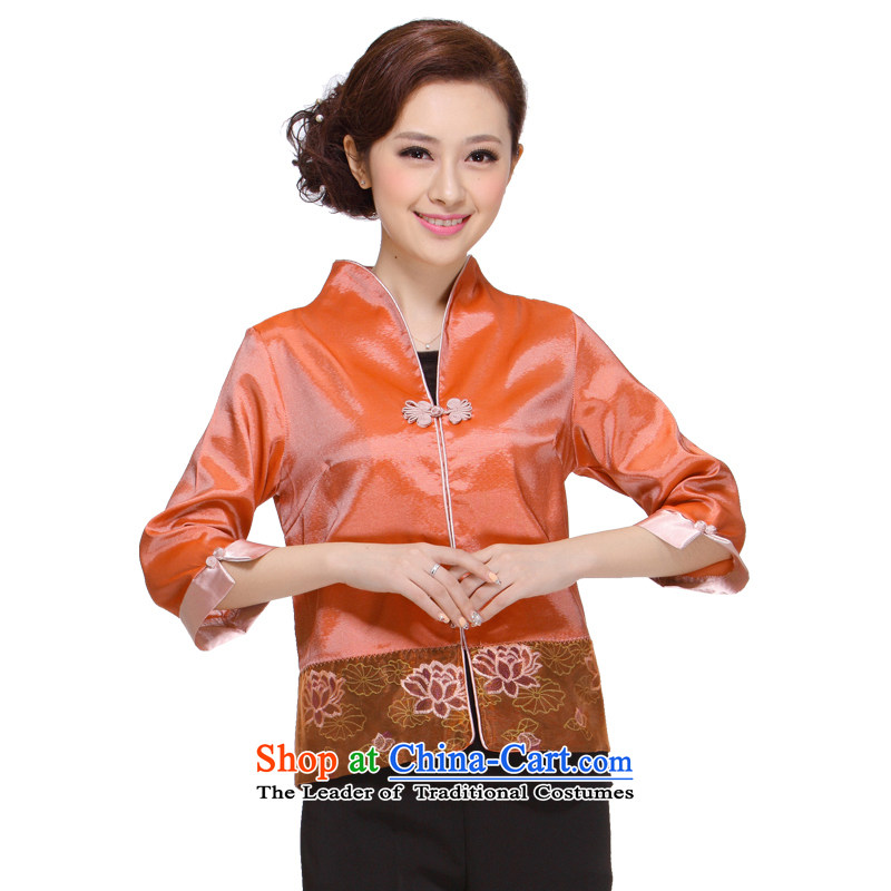 Ms. Tang dynasty autumn 2013 in New replacing older moms clothes in Sau San Tong cuff jacket Women's clothes M-003  3XL orange