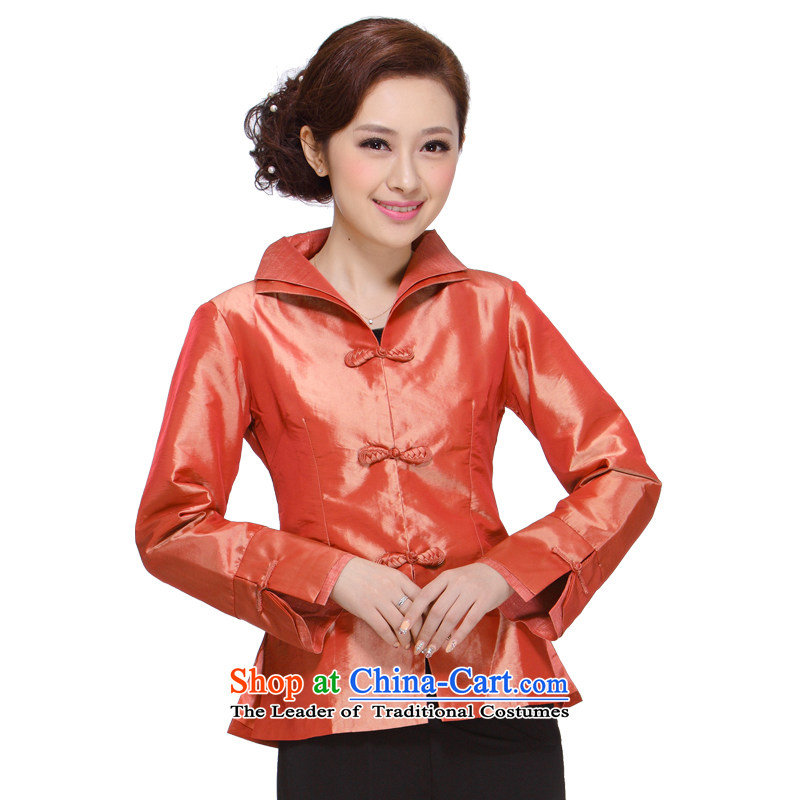 Ms. Tang dynasty autumn 2013 in New replacing older mother Sau San Tong Chinese Women's blouses 002 red-orange?XL
