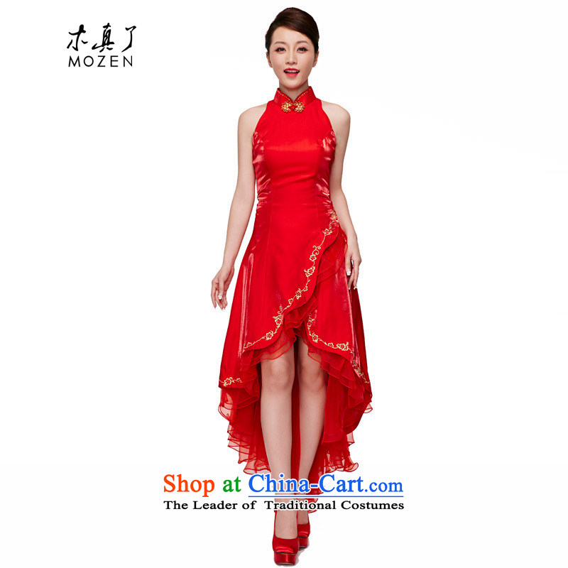 A qipao wood really spring and summer 2015 New Chinese wedding dresses elegant brides tail female 70145 long skirt 05 RED?M