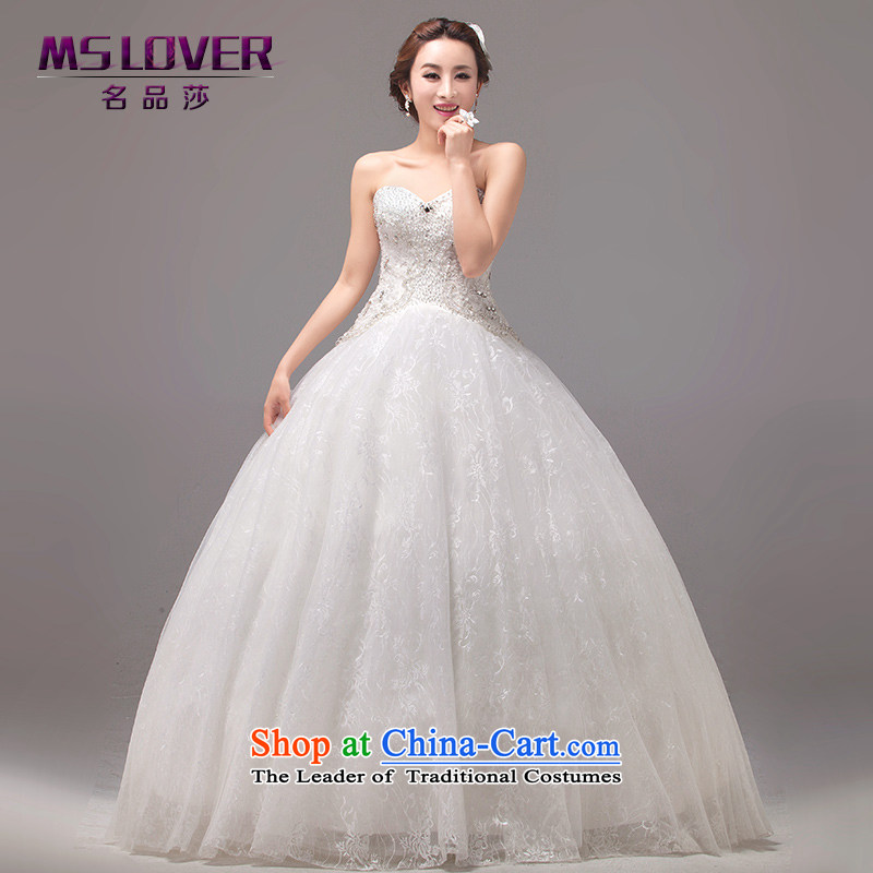 Mslover?Korean wedding temperament and chest nail Pearl Sau San Princess ultra-fung petticoats bride to align the strap Wedding?0036?M? M 2 feet of white waist size 1)