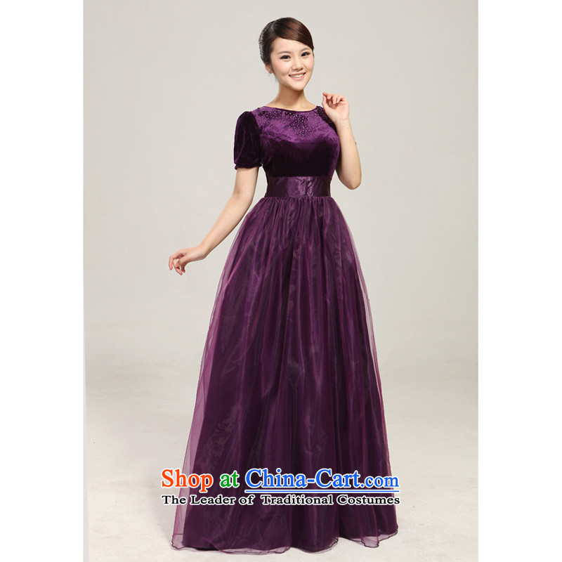 2013 new Royal Blue Diamond chorus clothing stage performance services large long skirt choral services custom purple L
