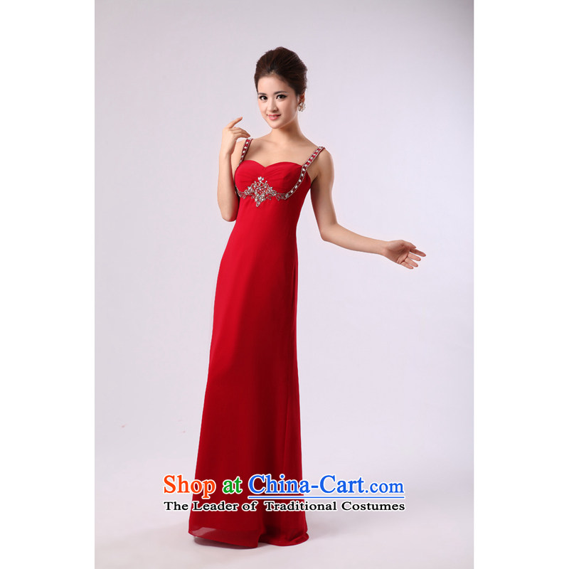 Elegant red lifting strap on-chip beads nails long large bride wedding dress bows services banquet evening dresses red?L