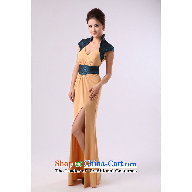 Deep V-Neck long large vertical collar temperament dress name services dance choral will serve command service picture color?XXL