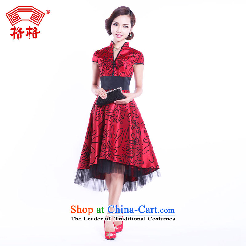 Princess Returning Pearl autumn and winter genuine lace cover before the new 2013 Marriage bows lint-free flower wedding bride improved red cheongsam red�L