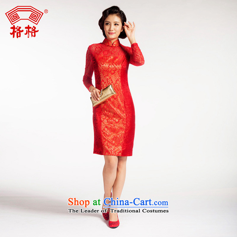 The interpolator qipao classic wedding wedding reception long-sleeved Chinese traditional herbs extract the following red lace skirt Red 2XL