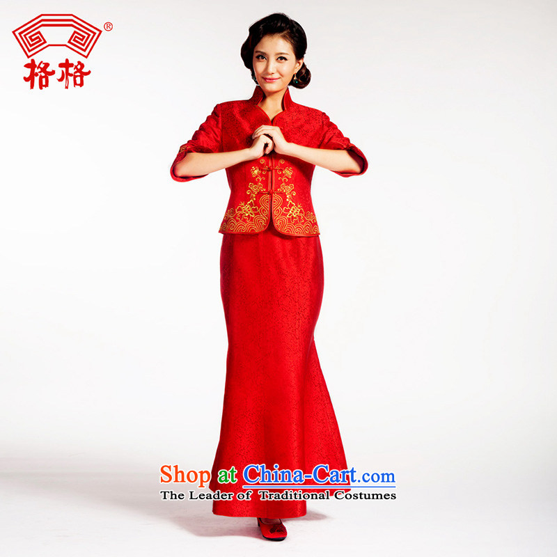 The interpolator qipao Chinese traditional wedding flower embroidery is married Montreal herbs extract bride upscale dress red�L