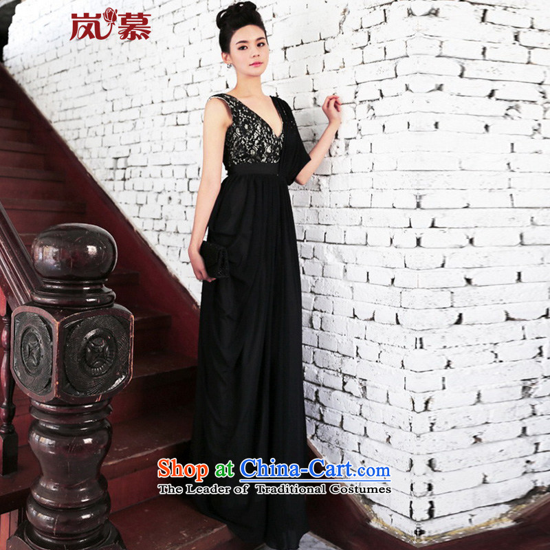 ?In the new LAURELMARY classy style dress lace shoulder dress stylish performances at night clothing such as map colors?XL(B=95/W=79)