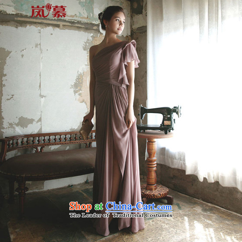 ?In the new LAURELMARY manually draw the folds single shoulder evening dresses to Sau San long skirt dress atmospheric performances evening dress) as shown as the size of the color