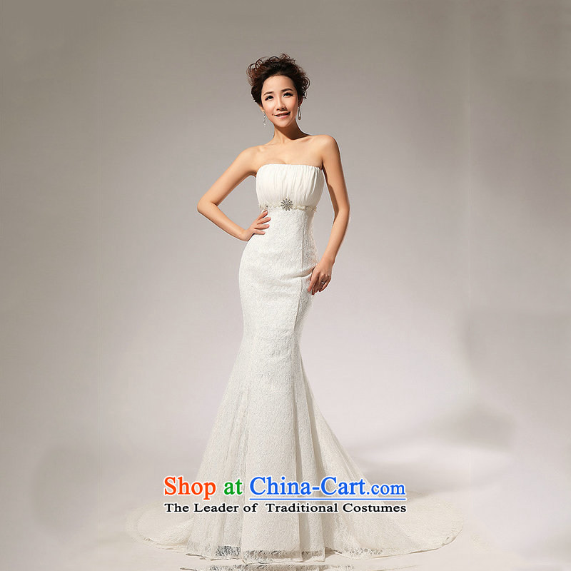 Optimize the new 2015 Hong-aligned with lace waist A skirt anointed chest wedding dresses long skirt HS70 anointed�XS7019 chest�m White�XXL
