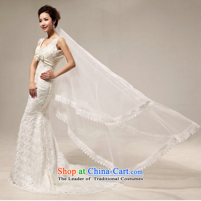 Optimize video royal retro sexy deep V deluxe lace Sau San crowsfoot tail bride wedding XS7017 m White?S