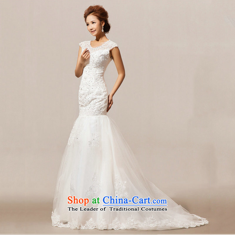 Optimize Hong-wedding dresses new Word 2014 luxury shoulder lace tail align to the princess straps wedding XS7018 m White�XL
