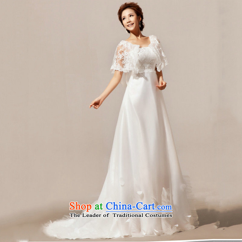 Optimize Hong-wedding dresses 2014 new winter Sau San Korean word trailing shoulder married women dress for winter�XS7020�m White�S