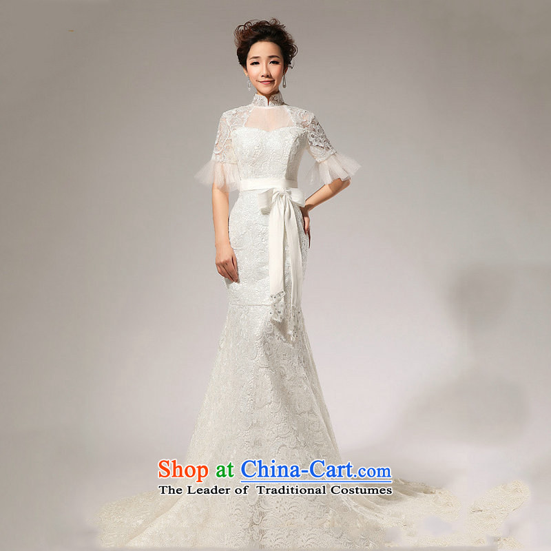 Optimize video new wedding dresses in cuff lace crowsfoot wedding small trailing shoulders video thin bride wedding XS7022 m White?XL