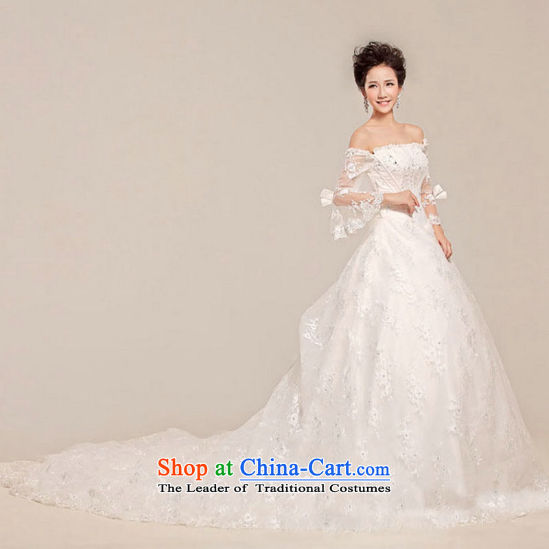 Optimize Hong-wedding tail new stylish anointed chest lace Sau San bon bon skirt long tail XS7028 white L