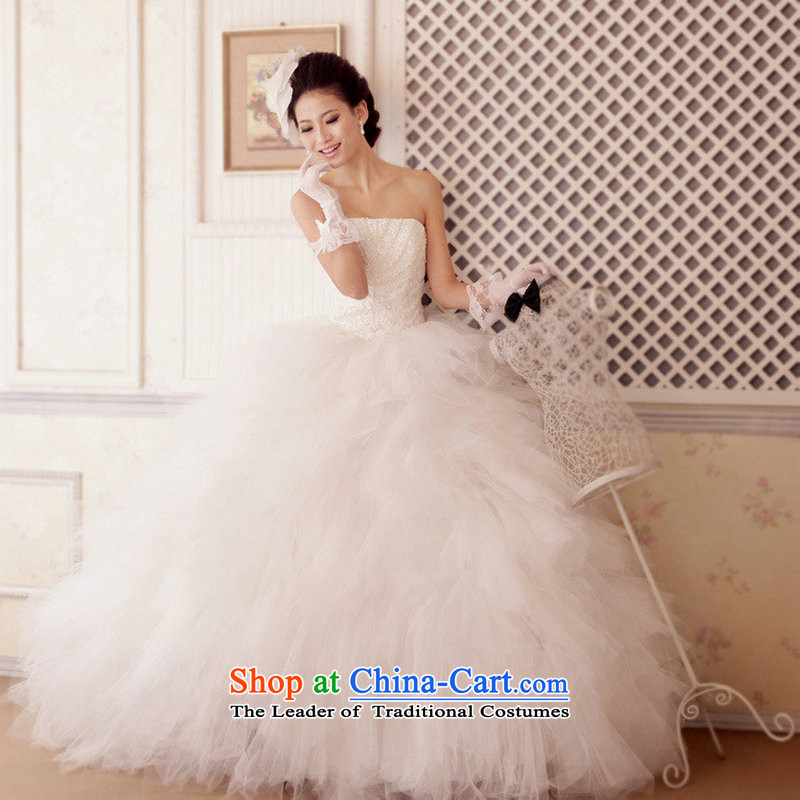 Optimize Hong-bride wedding dress deluxe banquet skirts and dress skirt chest thin large graphics bon bon dress XS7038 m White?M