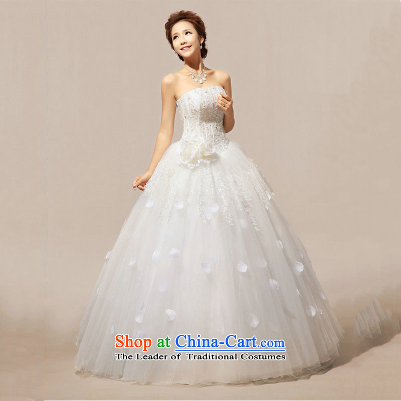 Optimize video new spring and summer 2014 Korean wiping the chest straps to align the diamond wedding dresses XS7037 marriages m White�XL