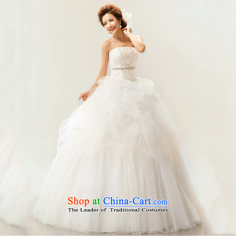 Optimize Hong-spring and summer 2014 new wedding dresses Korean alignment with chest strap white diamond wedding princess XS7108 trailing white?S