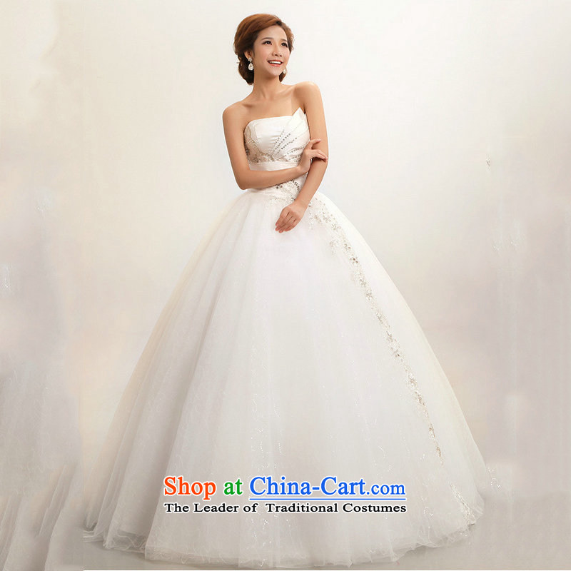 Optimize the new Korean Hong-wiping the chest to marriages wedding dresses XS7168 m White XL