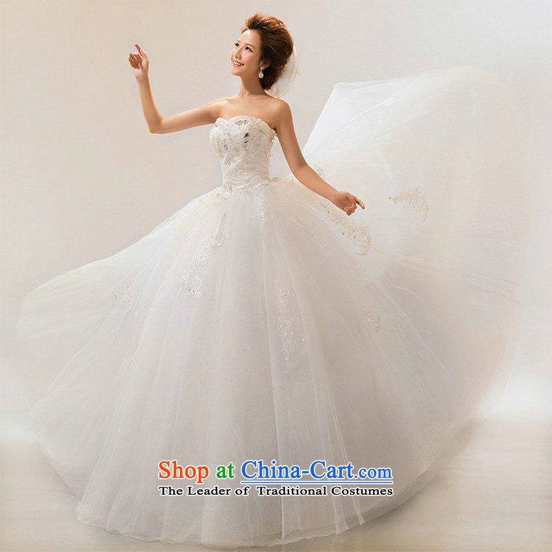 Optimize new stylish Hong-wipe chest luxury water drilling on-chip to align the wedding Princess Korean wedding dresses video graphics high XS7166 thin white?M M