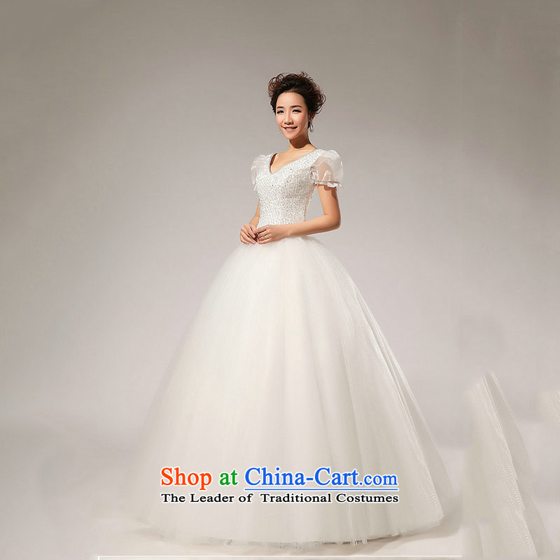 Optimize Hong-wedding dresses bubble cuff sweet princess new alignment with 2014 lace bon bon wedding XS7156 m White?M